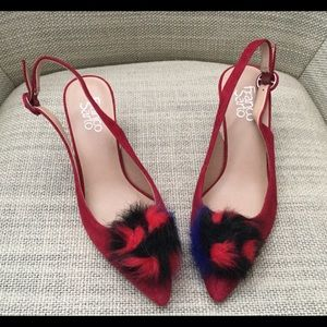 FRANCO SARTO RED SHOES DAMONICA FUR POM POM SIZE 7